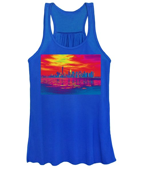 Vivid Skyline Of New York City, United States Women's Tank Top