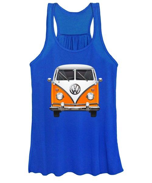 Volkswagen Type - Orange And White Volkswagen T 1 Samba Bus Over Blue Canvas Women's Tank Top