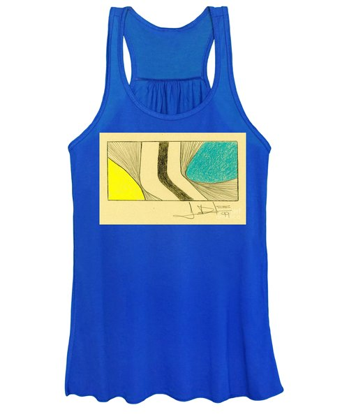 Waves Yellow Blue Women's Tank Top