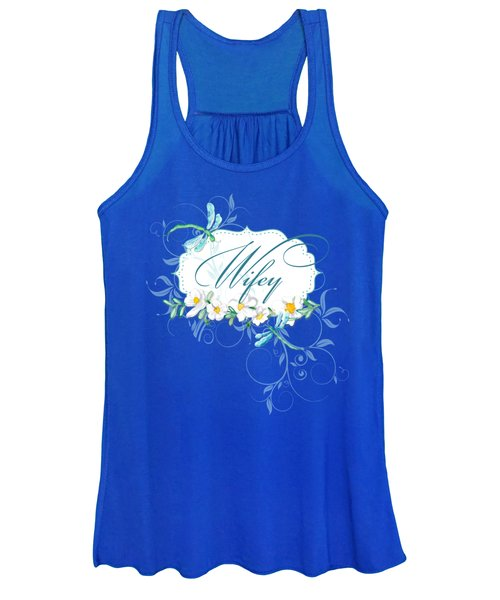 Wifey New Bride Dragonfly W Daisy Flowers N Swirls Women's Tank Top