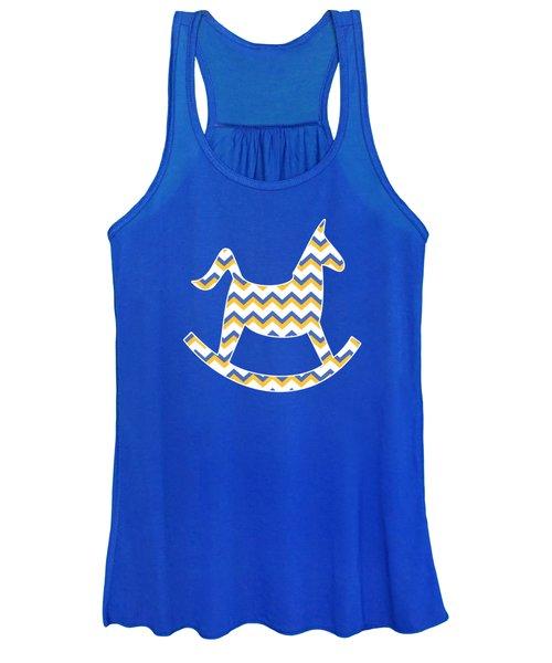 Yellow Blue Chevron Pattern Women's Tank Top