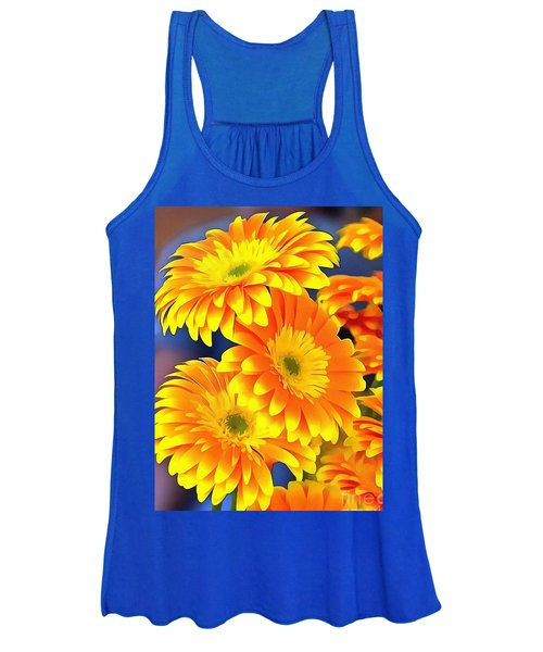 Yellow Flowers In Thick Paint Women's Tank Top