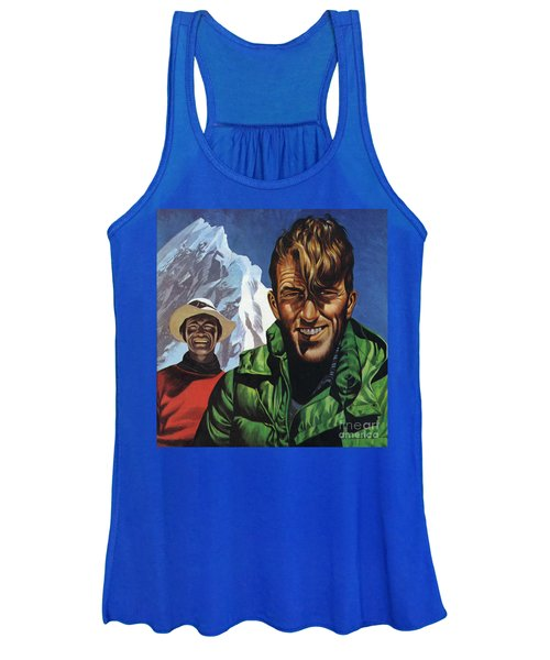 Hillary And Tensing In Front Of Mount Everest Women's Tank Top
