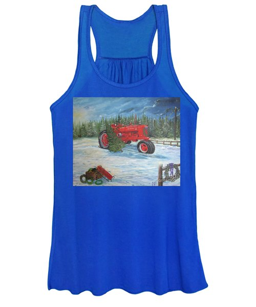 Antique Tractor At The Christmas Tree Farm Women's Tank Top