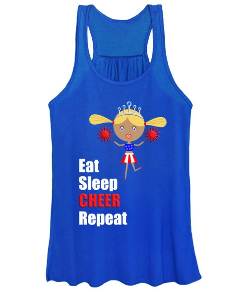 Cheerleader And Pom Poms With Text Eat Sleep Cheer Women's Tank Top