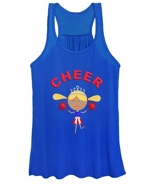 Cheerleader With Pom Poms And Cheer In Arched Text  Women's Tank Top