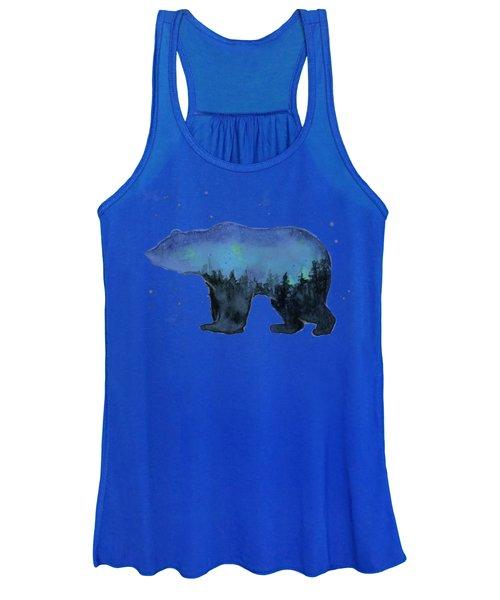 Forest Bear Watercolor Galaxy Women's Tank Top