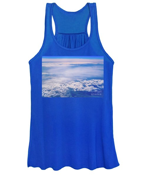 Intense Blue Sky With White Clouds And Plane Crossing It, Seen From Above In Another Plane. Women's Tank Top