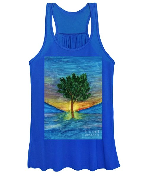 Women's Tank Top featuring the painting Lonely Pine by Irina Dobrotsvet