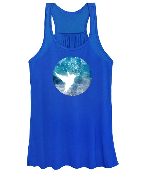 Magical, Whimsical Spirit Hummingbird Drinking Stars Women's Tank Top