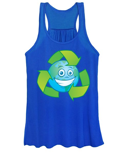 Planet Earth Recycle Cartoon Character Women's Tank Top