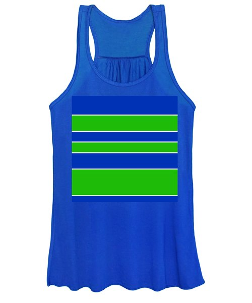 Stacked - Navy, White, And Lime Green Women's Tank Top