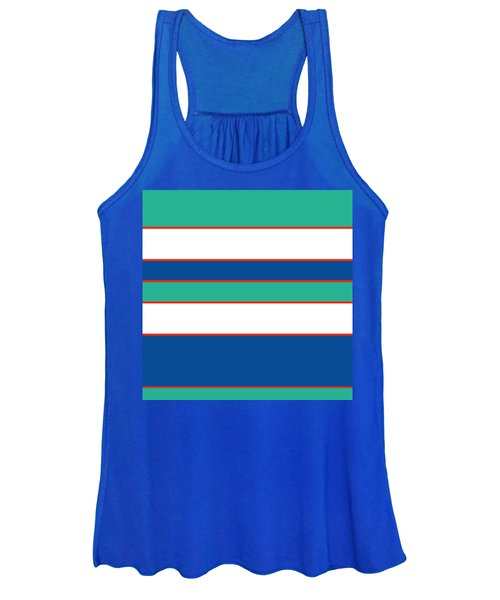 Stacked - Sea Foam, Orange, Navy And White Women's Tank Top
