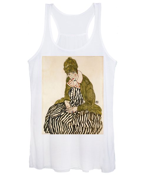 Edith With Striped Dress Sitting Women's Tank Top