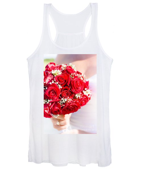 Floral Rose Boquet Held By Bride Women's Tank Top