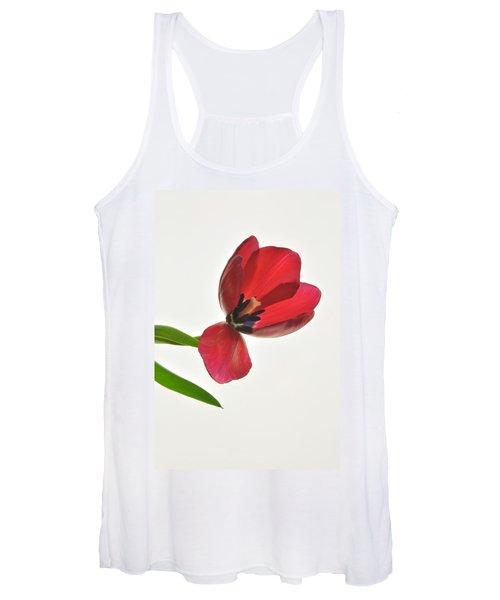 Red Transparent Tulip Women's Tank Top