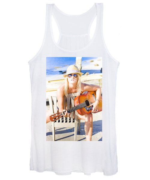 Woman With Guitar Women's Tank Top