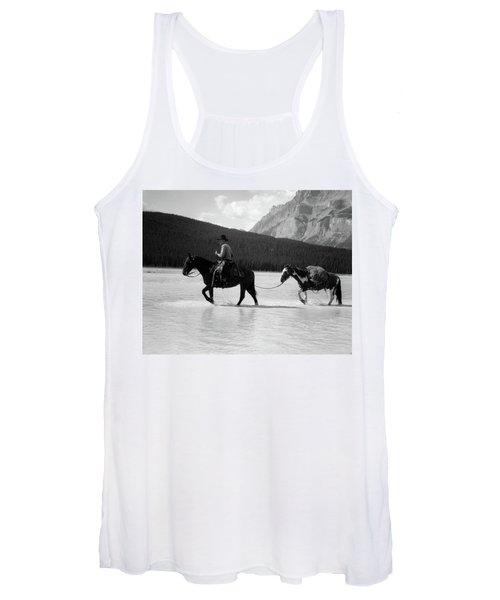 1930s 1940s Cowboy On Horseback Women's Tank Top