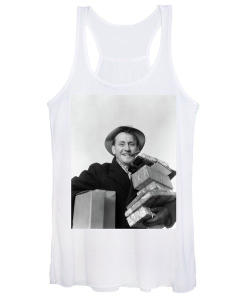 1930s Man Cigar In Mouth Hat Tipped Women's Tank Top