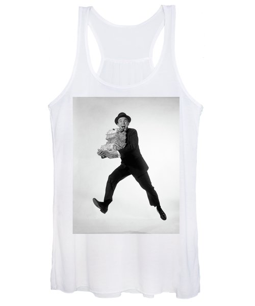 1960s Excited Enthusiastic Man Jumping Women's Tank Top