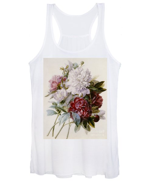 A Bouquet Of Red Pink And White Peonies Women's Tank Top