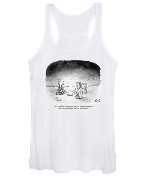 A Man And 3 Children Sit Around A Fire Women's Tank Top