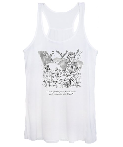 A Man And Woman Lay In The Grass Women's Tank Top