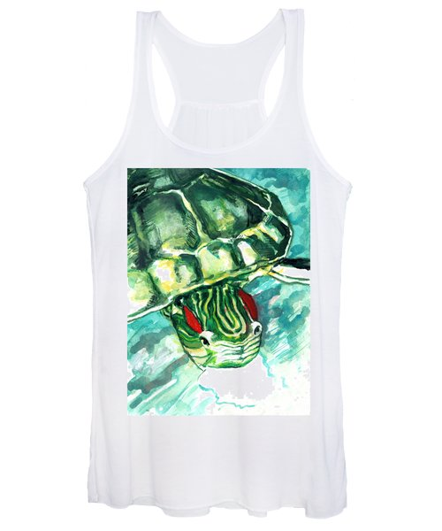 A Turtle Who Likes To Eat Fish Women's Tank Top