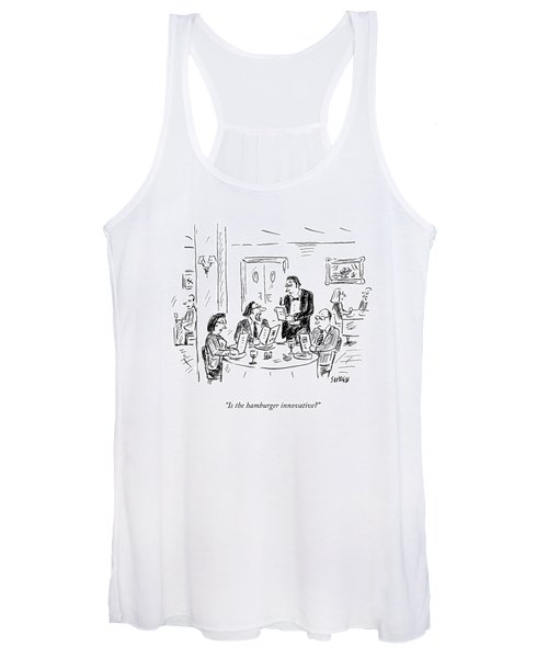 A Waiter Takes Orders At A Restaurant Women's Tank Top