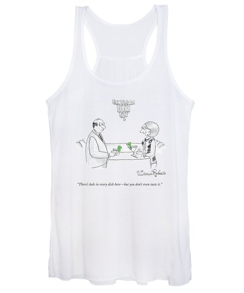 A Woman Addresses A Man Across A Restaurant Table Women's Tank Top