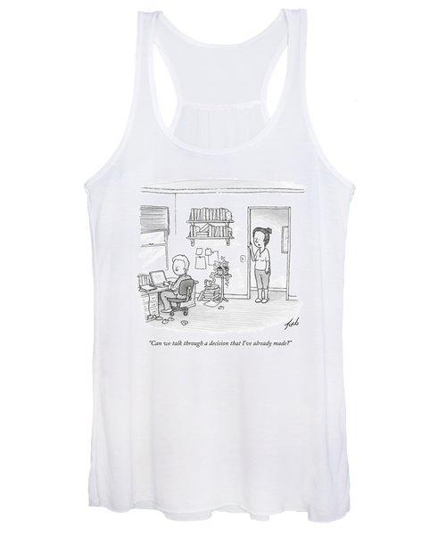 A Woman Addresses Her Husband In His Home Office Women's Tank Top