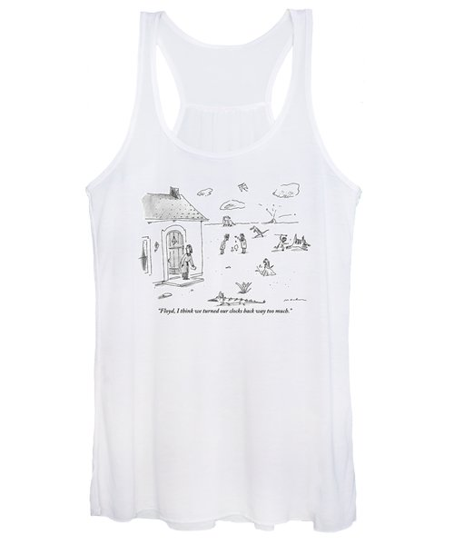 A Woman Bends Down To Pick Up The Newspaper Women's Tank Top