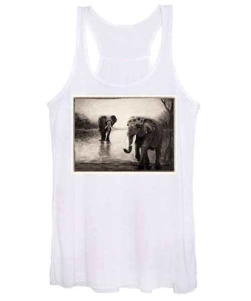 African Elephants At Sunset Women's Tank Top