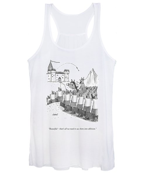 An Army Of Vikings Hold Briefcases Women's Tank Top