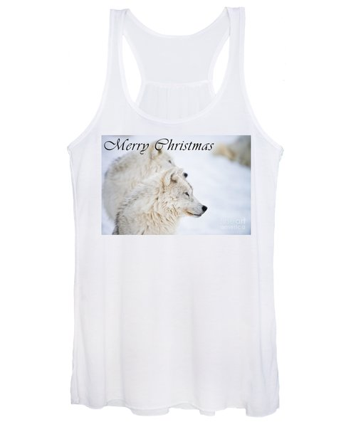 Arctic Wolf Christmas Card 12 Women's Tank Top