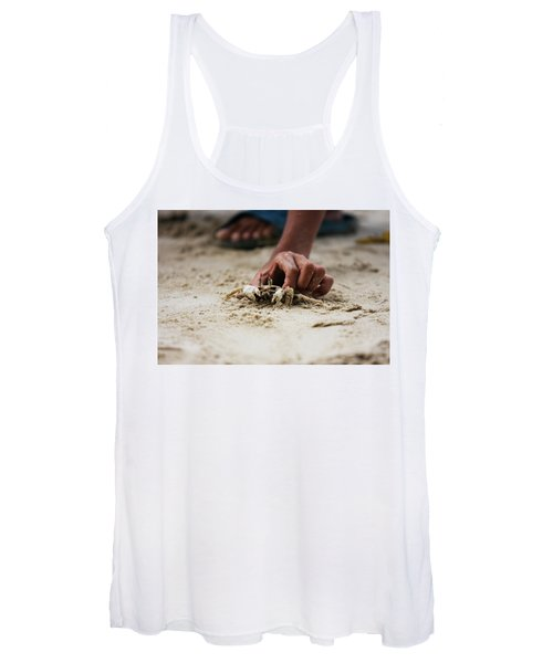Asian Boy Is Holding A Crab Women's Tank Top