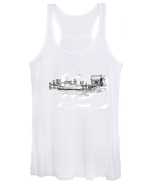 Awaiting Bluefish Run Ocracoke Nc 1970s Women's Tank Top