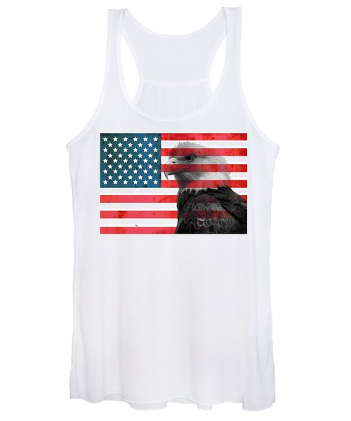 Bald Eagle American Flag Women's Tank Top