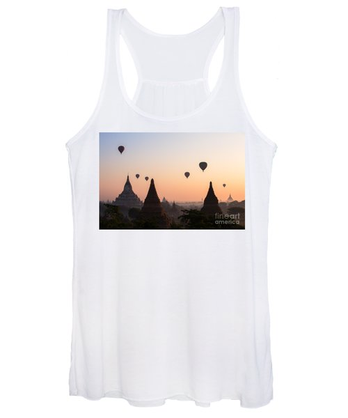 Ballons Over The Temples Of Bagan At Sunrise - Myanmar Women's Tank Top