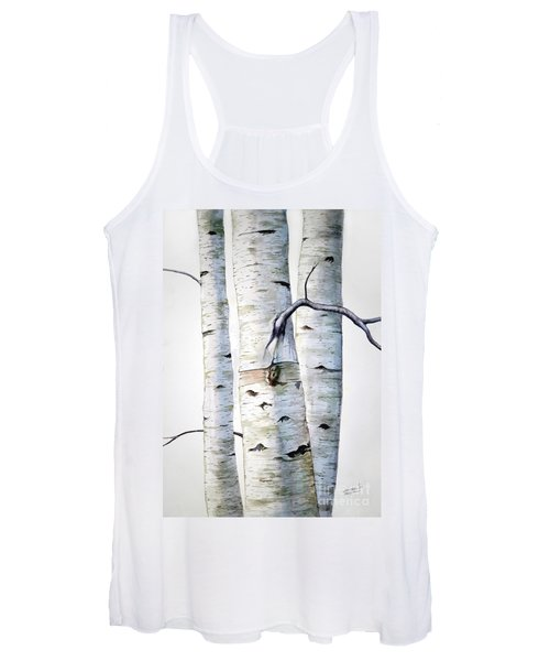 Birch Trees In Watercolor Women's Tank Top