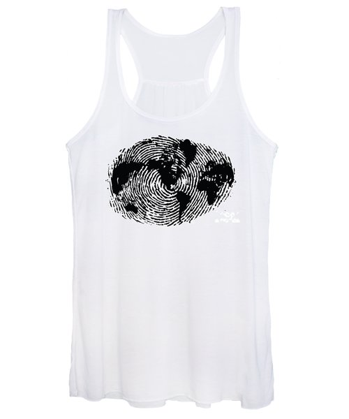 black and white ink print poster One of a Kind Global Fingerprint Women's Tank Top