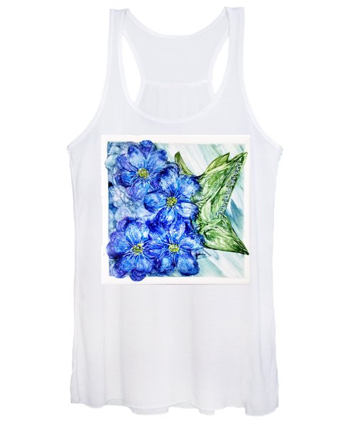 Blue Springy Flowers Alcohol Inks Women's Tank Top