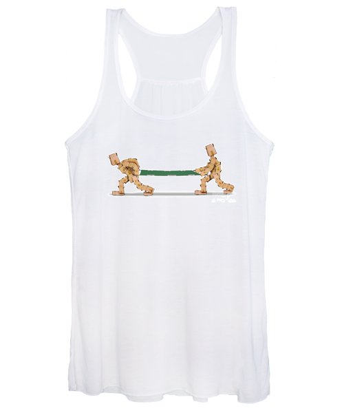 Box Characters Carrying A Stretcher Isolated Women's Tank Top