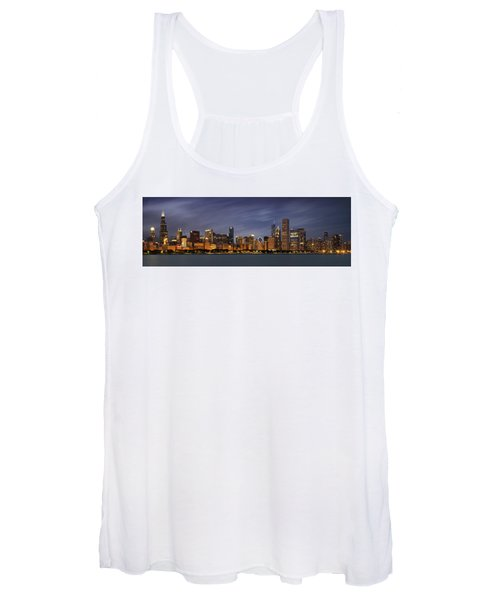 Chicago Skyline At Night Color Panoramic Women's Tank Top