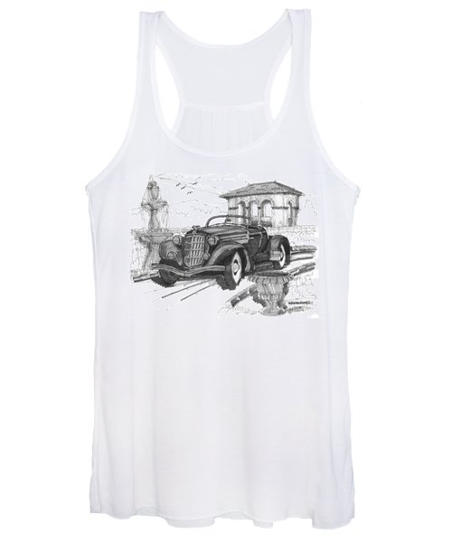 Classic Auto With Formal Gardens Women's Tank Top