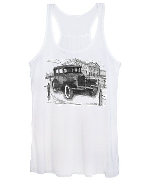 Classic Auto With Mills Mansion Women's Tank Top