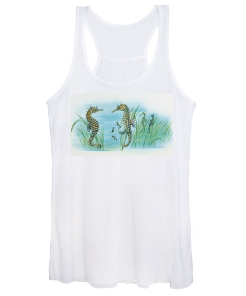 Close-up Of A Male Sea Horse Expelling Young Sea Horses Women's Tank Top