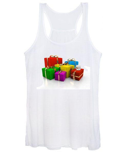 Colorful Gift Boxes Isolated On White. Women's Tank Top