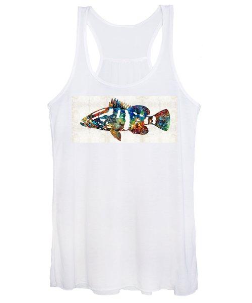 Colorful Grouper 2 Art Fish By Sharon Cummings Women's Tank Top