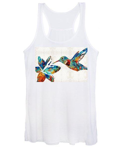 Colorful Hummingbird Art By Sharon Cummings Women's Tank Top